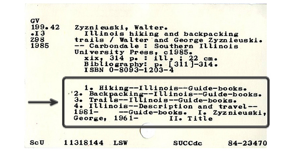 image of library catalogue card
